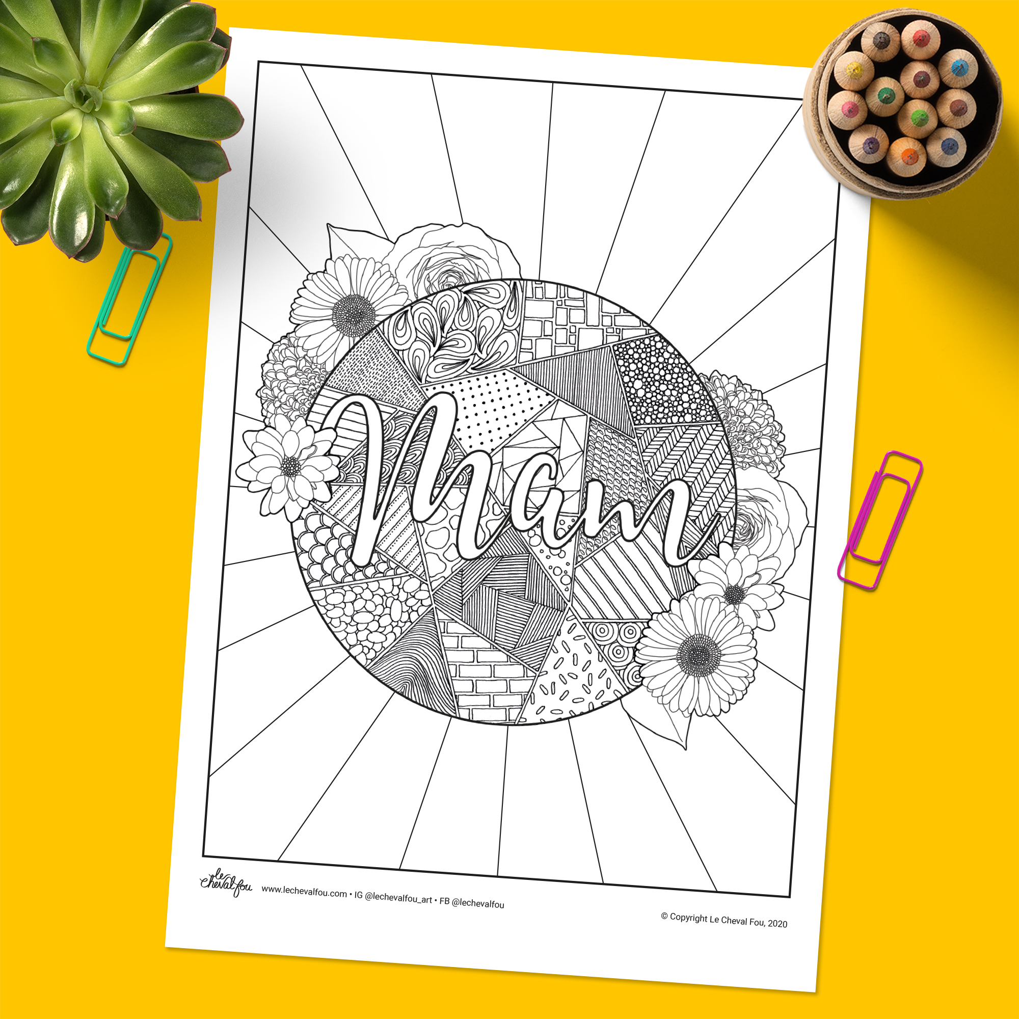 This colouring sheet is a great activity to do with (or without) your kids during lockdown. Alternatively it yourself. So grab a spare few minutes, your pencils and a cuppa and take pleasure in mindfulness and colouring in this gorgeous design before sending it to your own Mam.