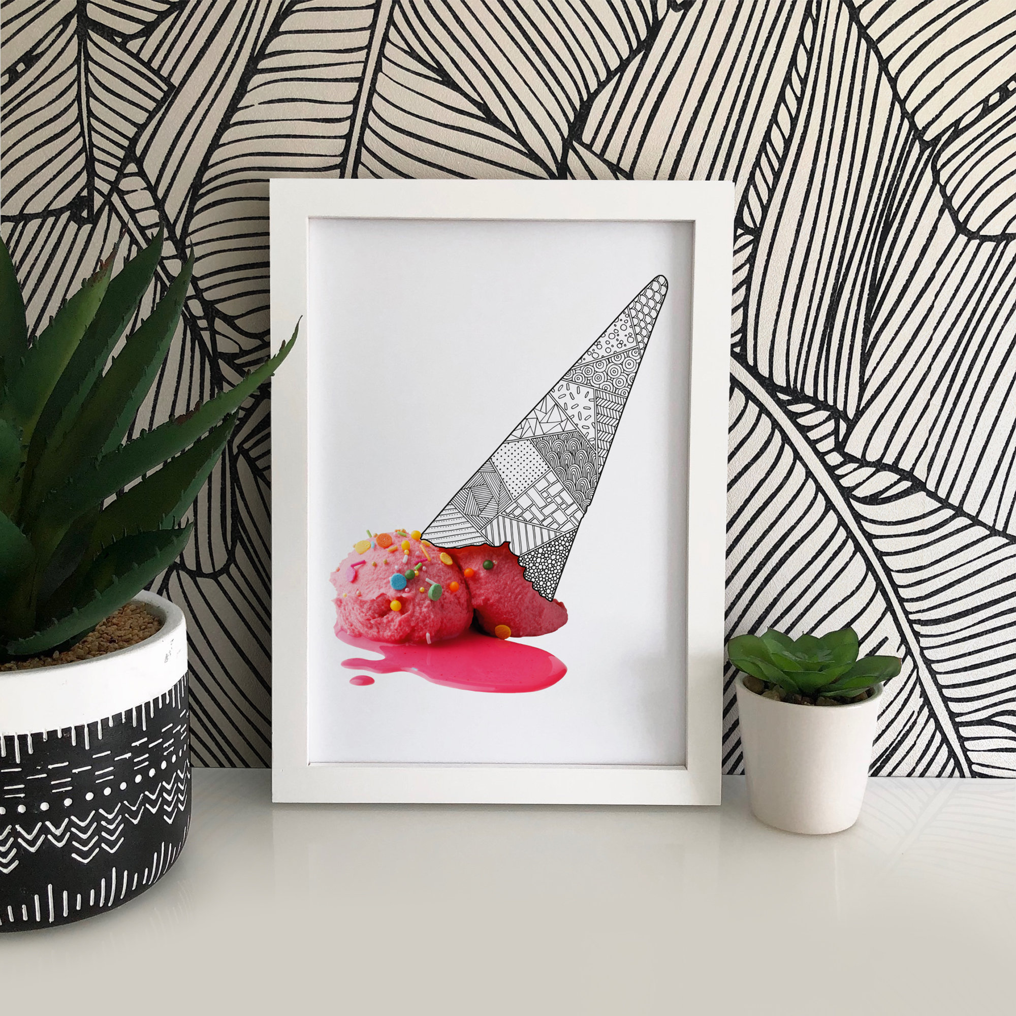 This gorgeous A4 art print features a vibrant pink 'Melted' ice-cream, zentangle inspired patterned cone and lots of sprinkles! It is printed onto 190gsm archival matte paper providing superb crispness of detail and vibrancy of colour.