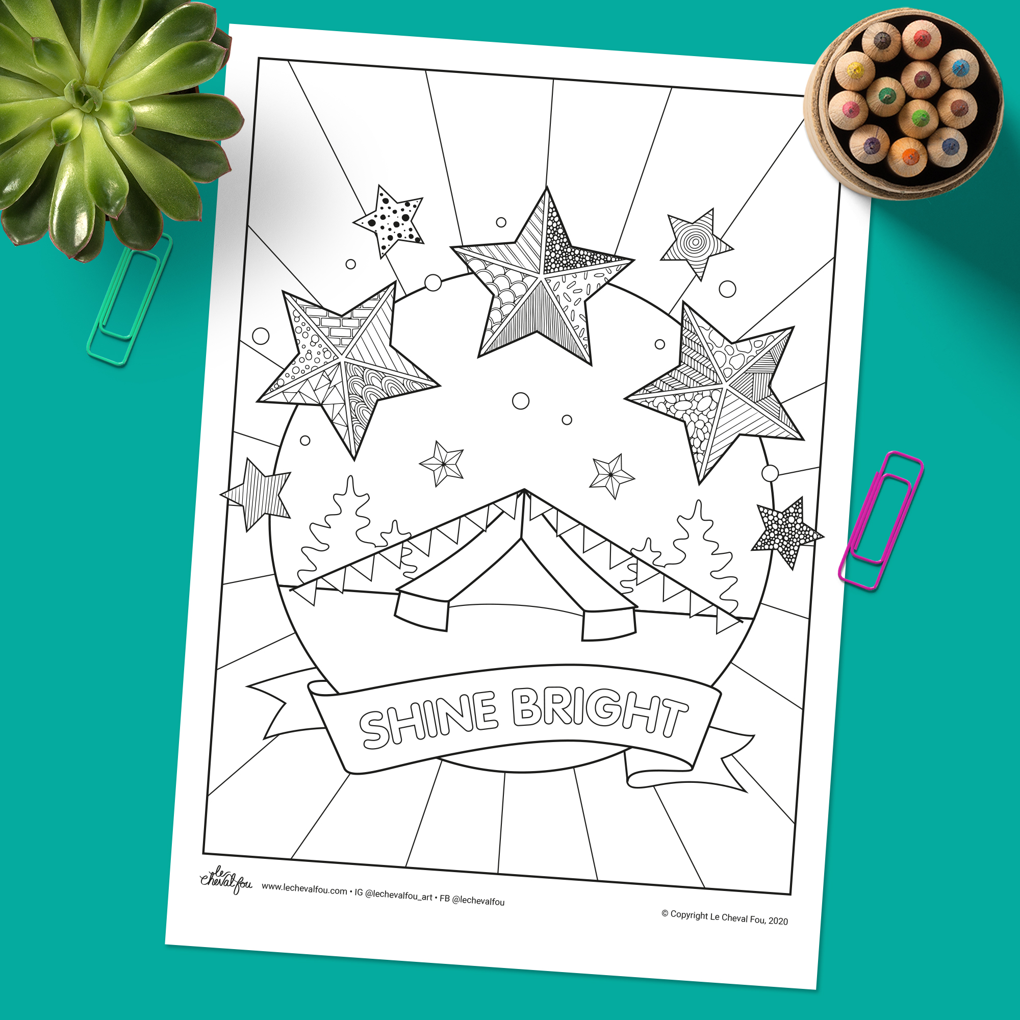 This fun and nostalgic colouring sheet features zentangle stars, a bell tent, bunting and a banner saying Shin Bright. Perfect for kids and adults alike.