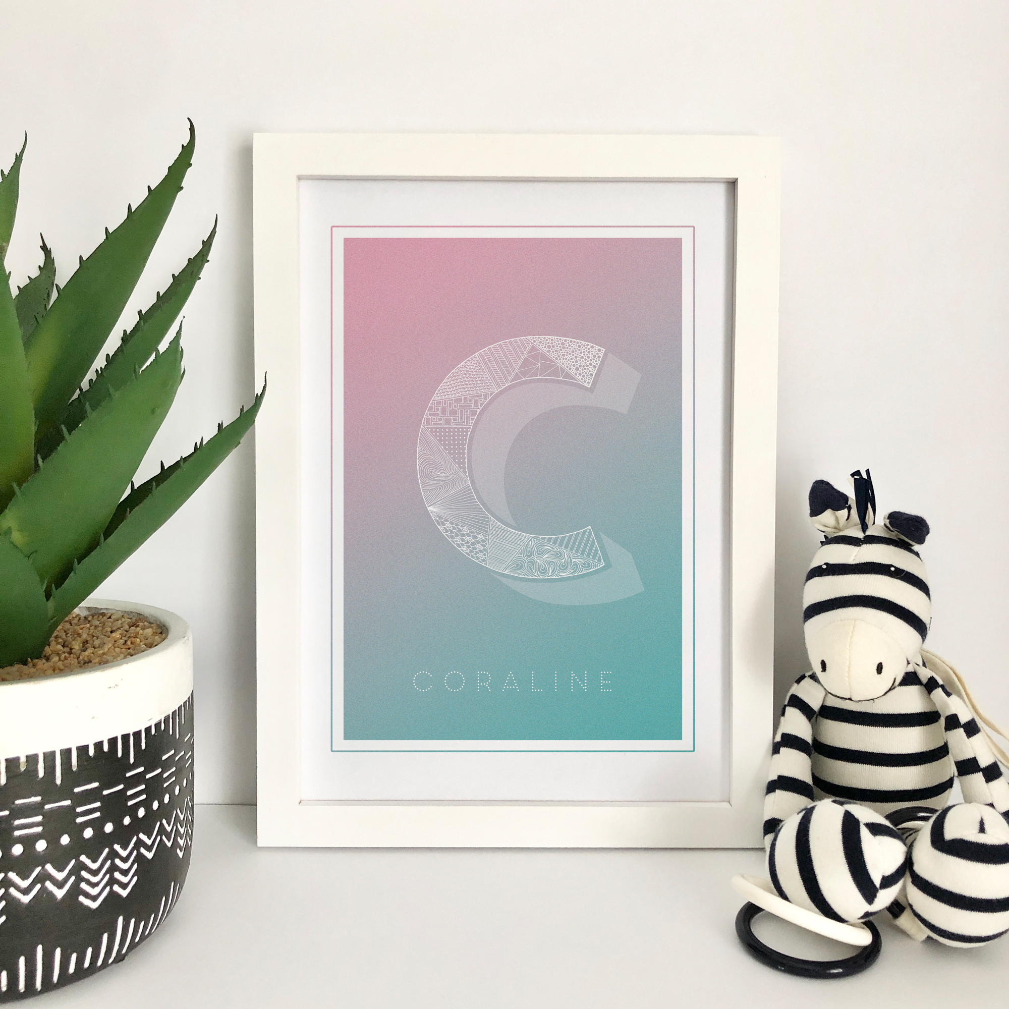 Personalised illustrated initial art print, featuring zentangle inspired patterns and gorgeous soft pastel shade backgrounds. A-Z available.
