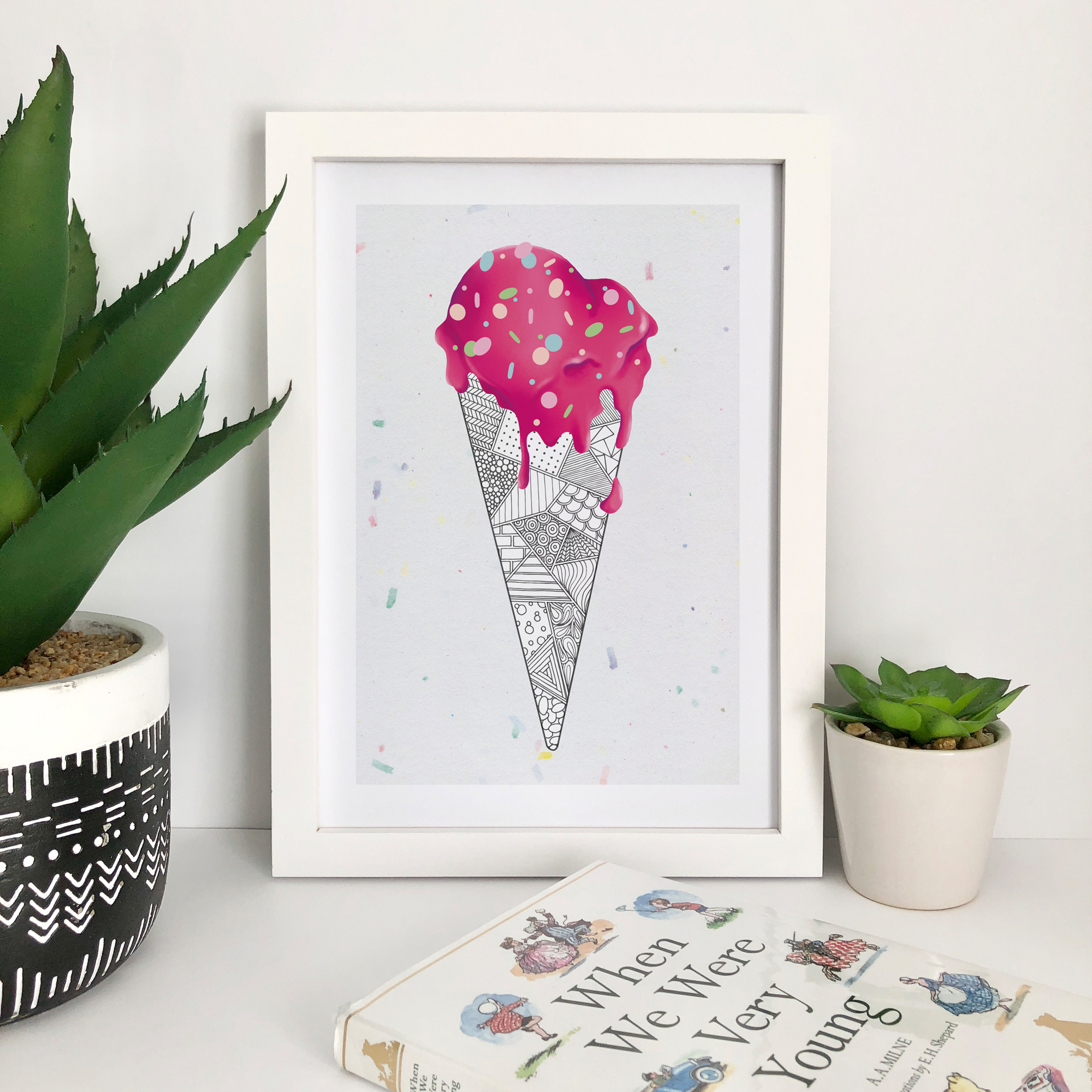 This lovely art print is available as A5 and A4 and features an illustrated melting pink ice cream with zentangle inspired patterned cone. Available on this confetti background or a rainbow background.