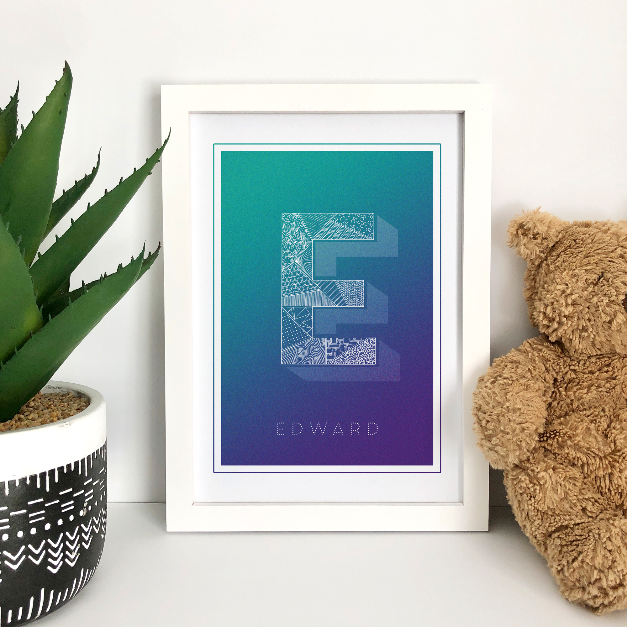 Personalised illustrated initial art print, featuring zentangle inspired patterns and gorgeous bright vibrant backgrounds. A-Z available.