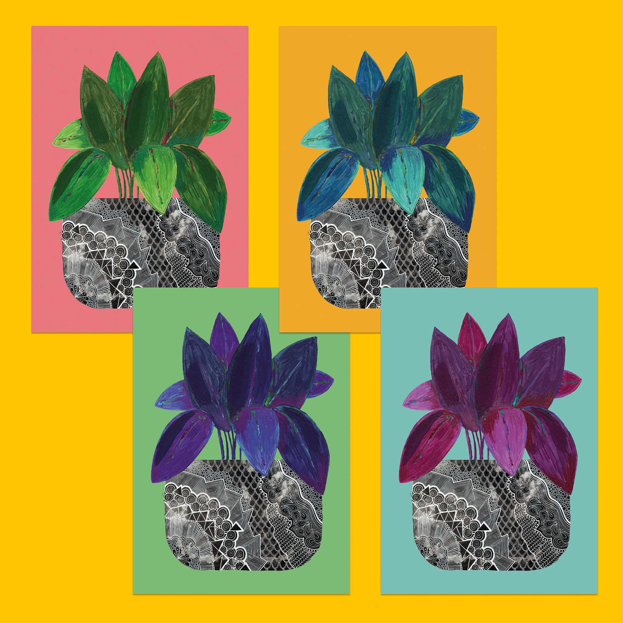 Set of 4 house plant postcards, ideal as a gift for nature lovers and keen gardeners. Can be used as postcards or displayed as botanical mini prints. Printed onto 350gsm uncoated recycled card.