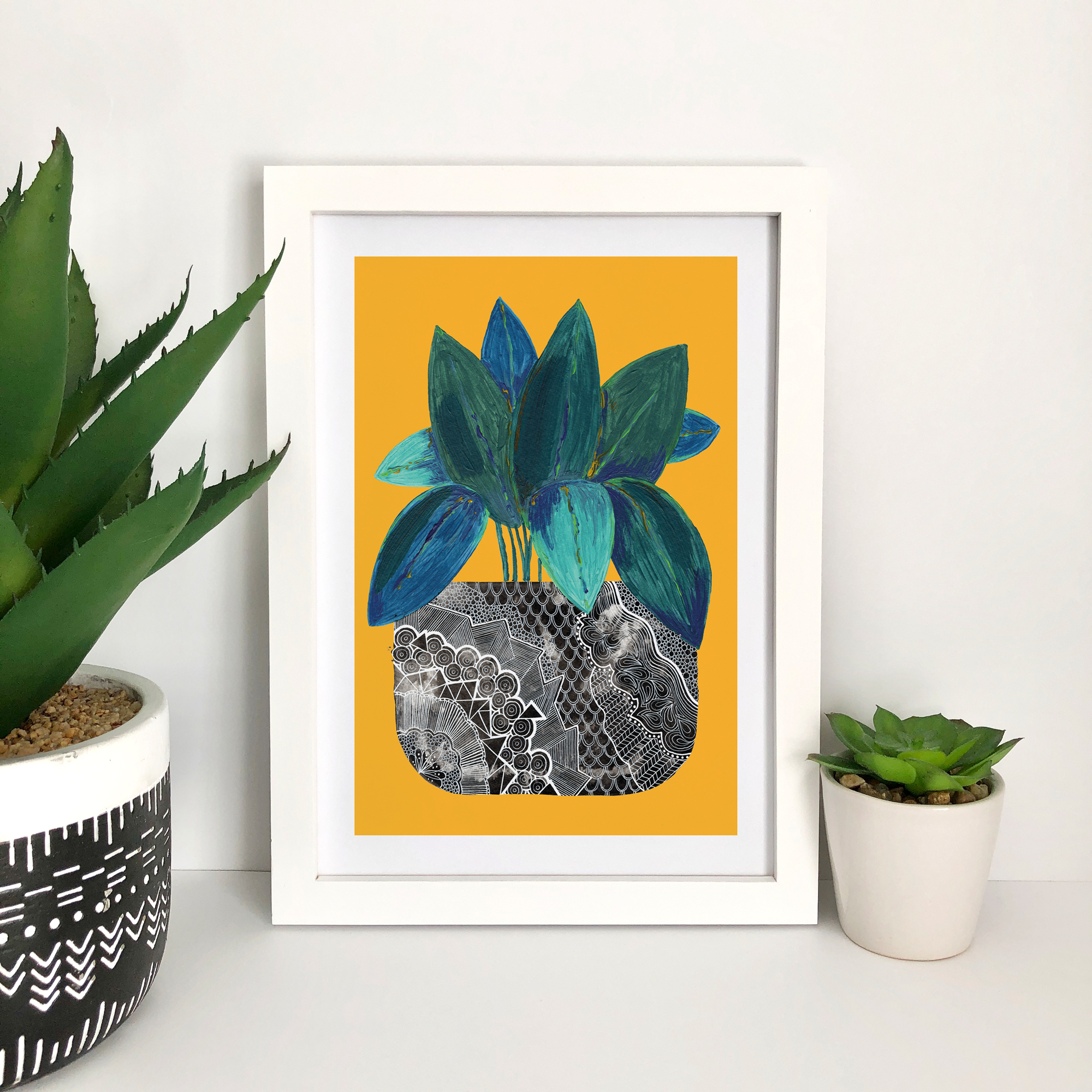 These fun illustrated house plant art prints are available in A4 and A5 and feature painted foliage and a zentangle inspired patterned plant pot.