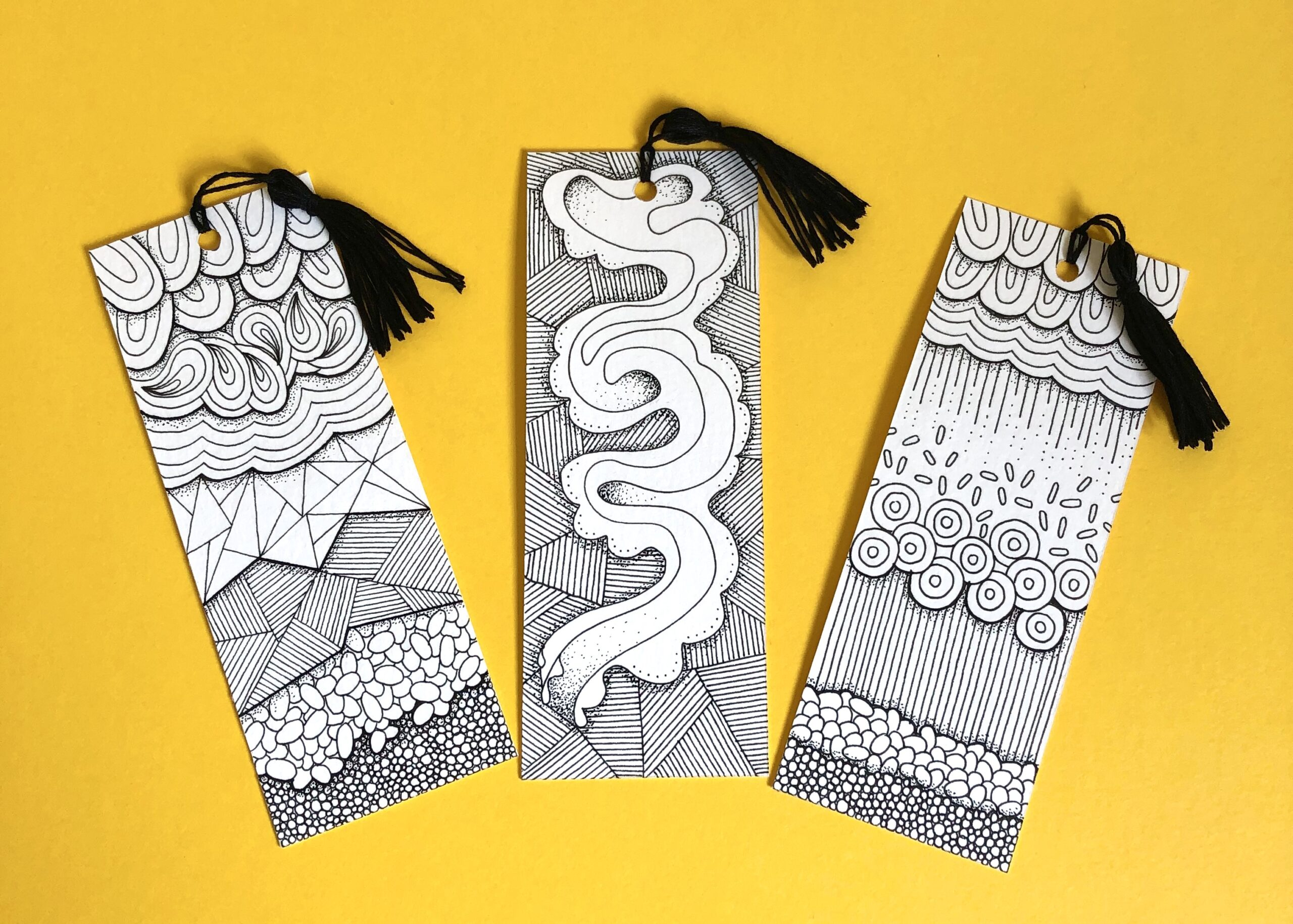 Set of three hand drawn, black and white, zentangle patterned bookmarks