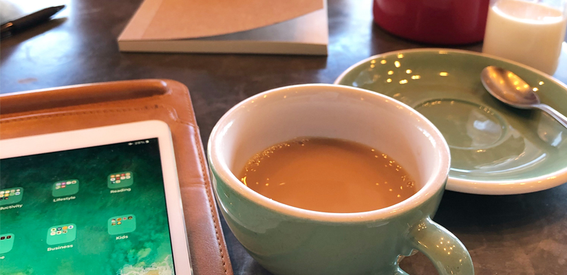 self-care for independent business owners - cup of tea and planning the week in different surroundings