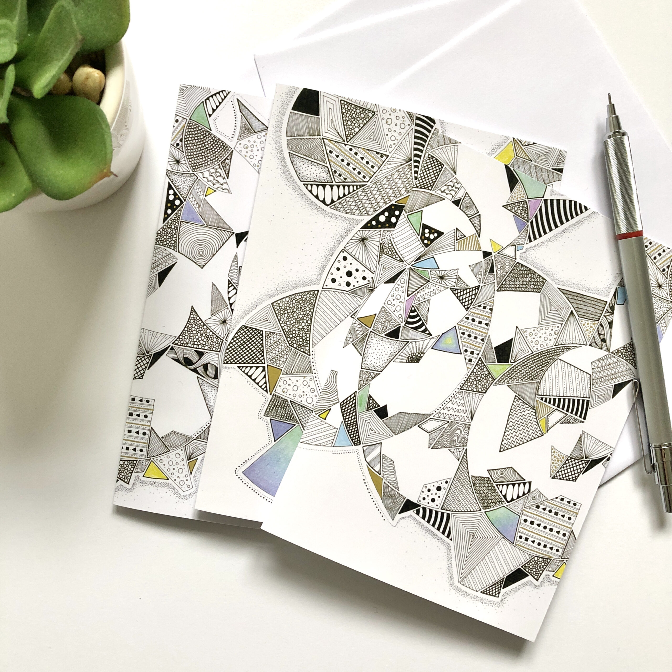 Set of 3 abstract art notecards with an aerial view of an indoor plant and a silver pencil