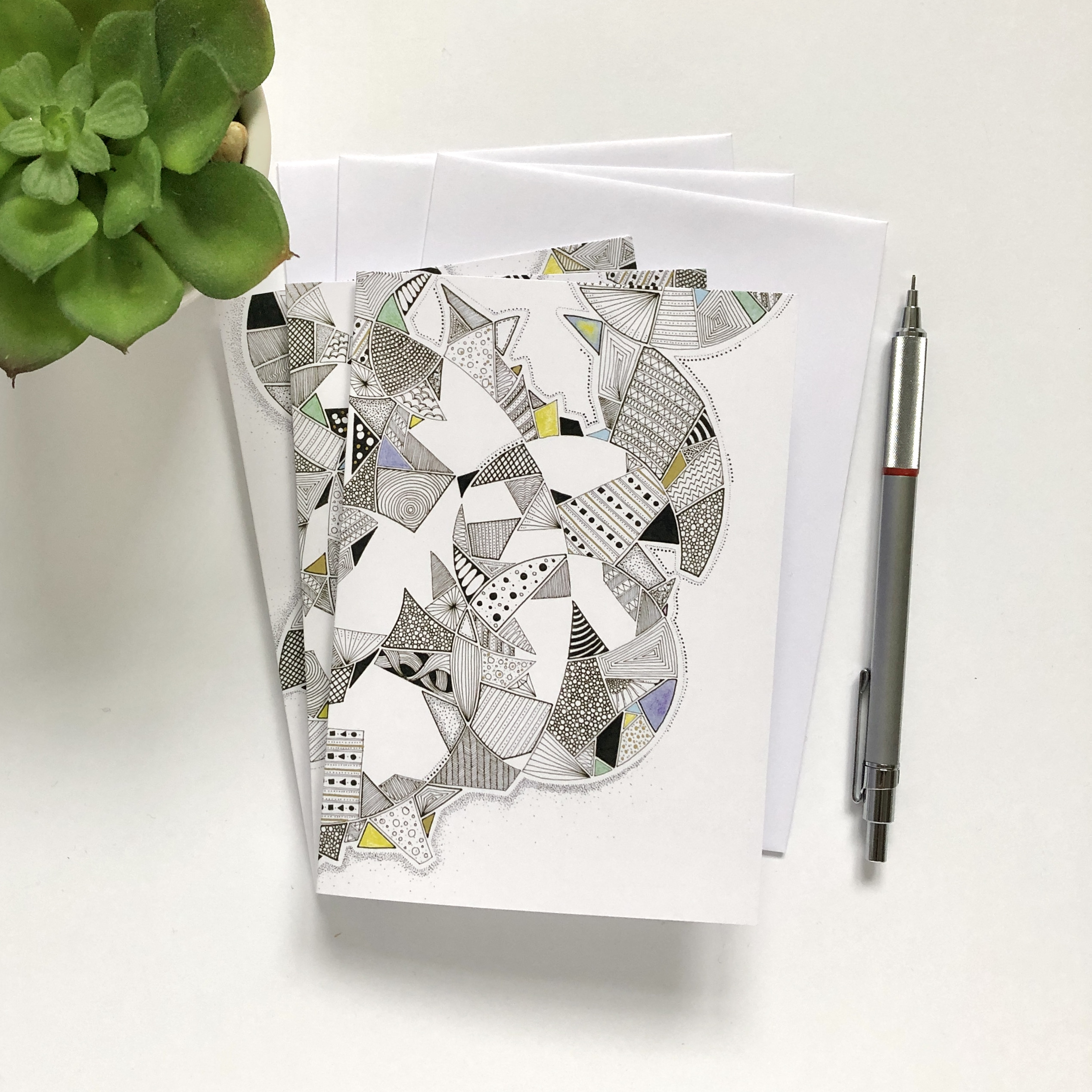 Set of 6 abstract notecards with envelopes