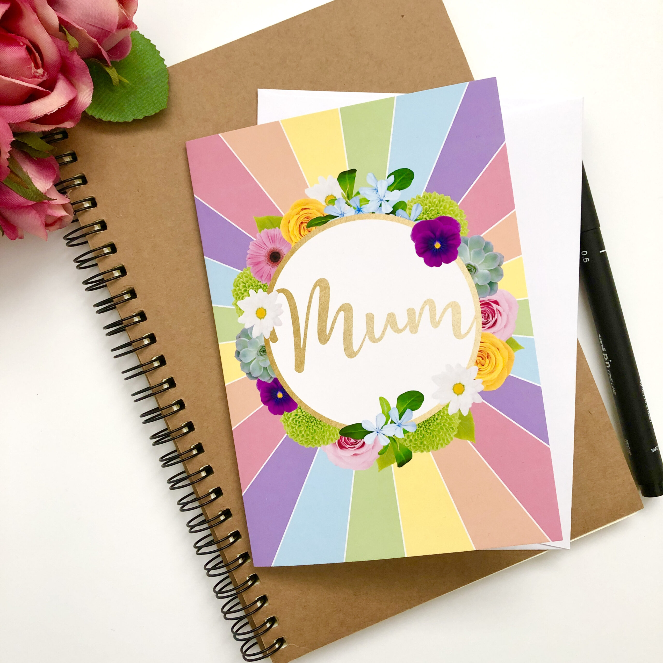Floral Greetings Card for Mum featuring multicoloured flowers and a rainbow sunburst background