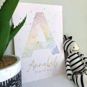 A4 personalised print featuring an intricately patterns capital letter A in rainbow colours, along with the name Annabel in metallic gold ink and the birth details underneath