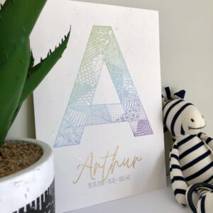 A4 art print featuring intricately patterned letter A in colours of green, blue and purple with the name Arthur in gold and the child's birth details in grey below