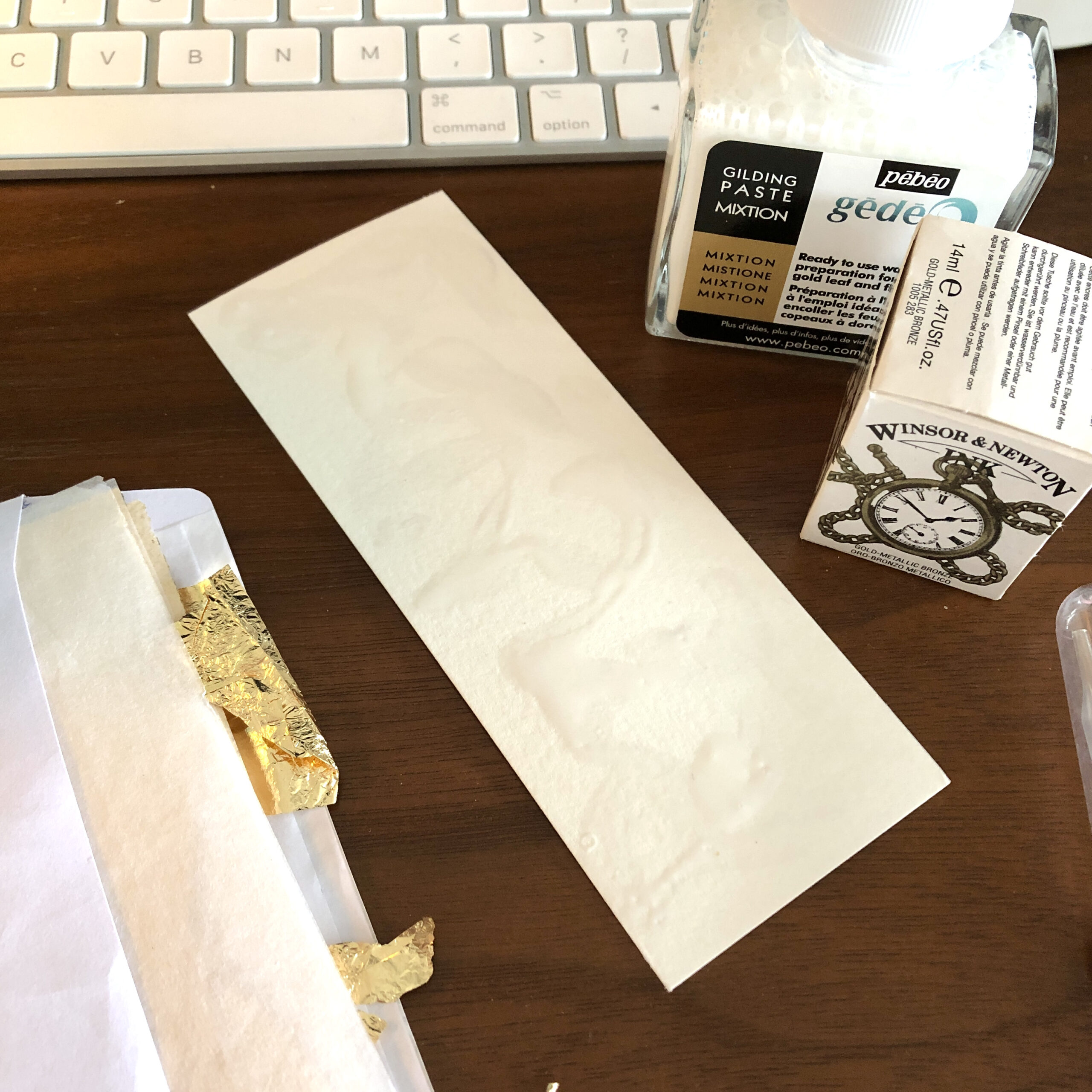 how to make unique gold bookmarks - Adding the gilding pastes to the bookmark