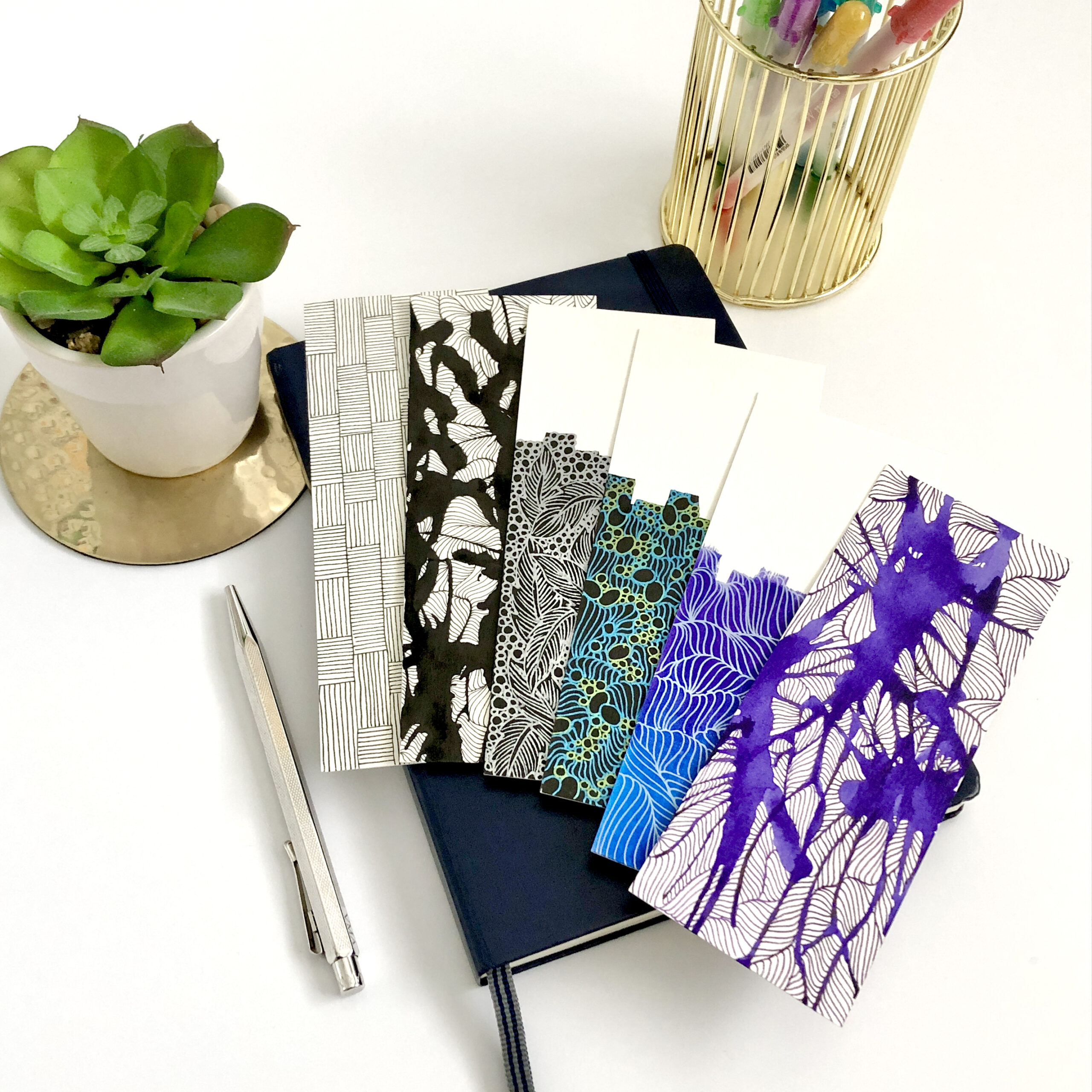 Set of handmade abstract bookmarks made by Maria Atton or Le Cheval Fou - Gift for book lover