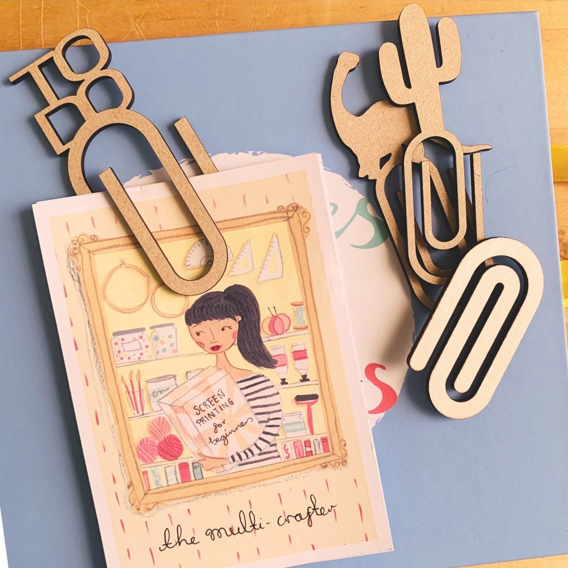 Eco-friendly gift for book lovers - wooden laser cut paperclips created by Tatty Moo